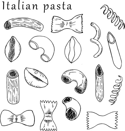 illustration of pasta in cartoon style. Perfect for menu, card, textile design