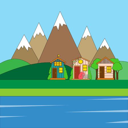 Summer landscape. Vector illustration of summer landscape homes, mountains and trees