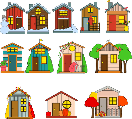 Set of houses in vector. Cute cartoon design. Perfect for card, calendar design 向量圖像