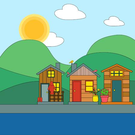 Spring landscape. Vector illustration of spring landscape homes, mountains and trees