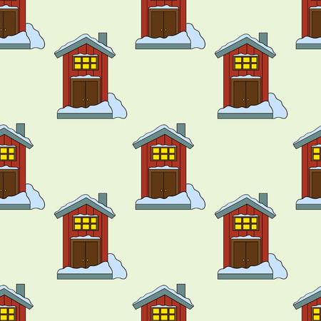 Seamless pattern of house in vector. Cute cartoon design. Perfect for card, calendar design