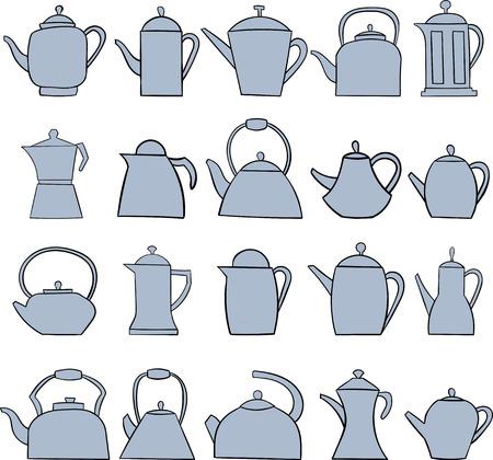 Set of teapot icon. Tea symbol. Flat Vector illustration.