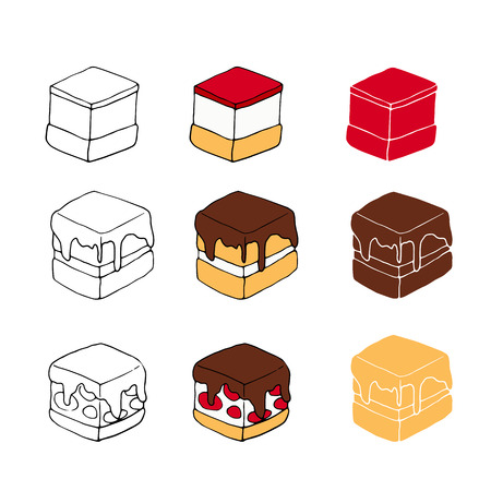 Set of sweet cakes with different toppings. Perfect for menu, card, textile, food packaging design. 矢量图像