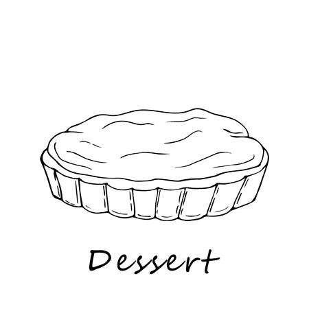 Hand drawn outline illustration of tartlet. Perfect for menu, card, textile of food package design Ilustração