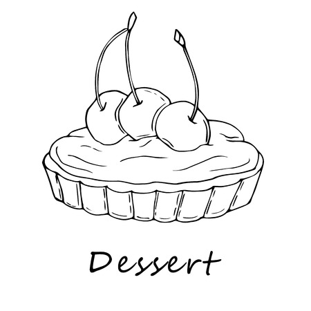 Hand drawn outline illustration of tartlet. Perfect for menu, card, textile of food package design Vectores