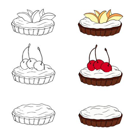 Set of sweet tartlets with different toppings in two styles. Perfect for menu, card, textile, food packaging design. Vektoros illusztráció