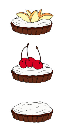 Set of sweet tartlets with different toppings. Perfect for menu, card, textile, food packaging design. Vectores