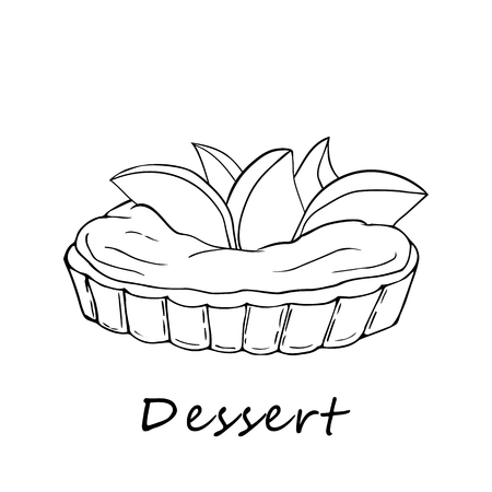 Hand drawn outline illustration of tartlet. Perfect for menu, card, textile of food package design 向量圖像