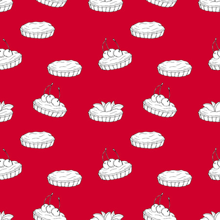 Seamless vector pattern of tartlets on red background. Perfect for menu, card, textile of food package design