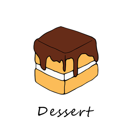 Colorful illustration of cake. Perfect for menu, card, textile of food package design