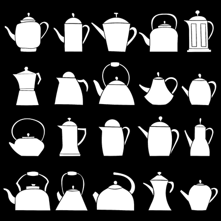 Set of teapot icon. Tea symbol. Flat Vector illustration.  イラスト・ベクター素材