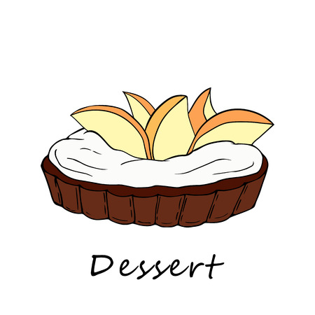 Hand drawn illustration of tartlet. Perfect for menu, card, textile of food package design