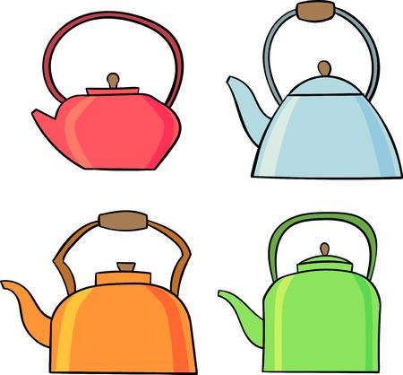 Ensemble d'icône de théière. Symbole du thé. Illustration vectorielle plane.