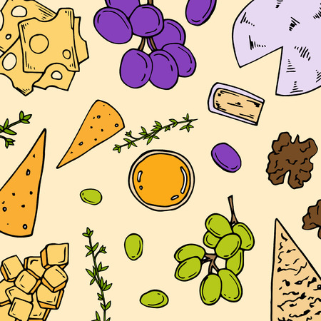 Pre-made card with antipasto ingredients in cartoon style. Vector illustration. Perfect for menu, card, textile design