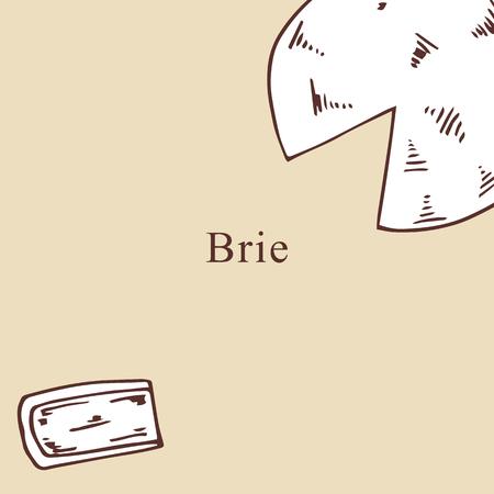 Brie vector illustration in cartoon style. Perfect for menu, card, bag design Vecteurs