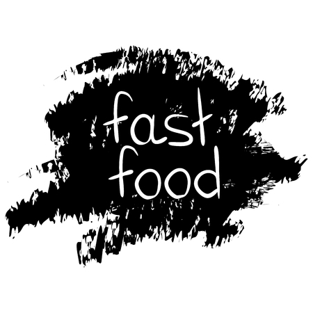 fast food phrase on brush stroke background. Lettering. Vector illustration with hand drawn lettering. Иллюстрация