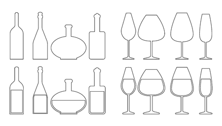 Set of different wine bottles and wine glasses outline shapes. Vector illustration. Illustration