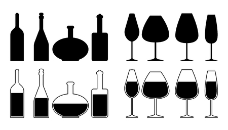 Set of different wine bottles and wine glasses silhouettes. Vector illustration. Illustration