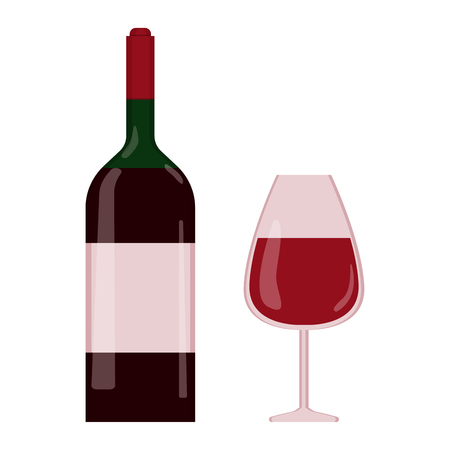 A wine bottle and a glass of wine in flat syle. Bordeaux wine concept Ilustração