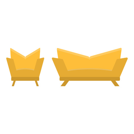sofa and chair in the same style. vector illustration, flat icon. Element of modern home and office furniture. Front view. Illustration