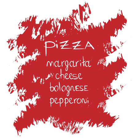 pizza word on brush stroke background. Lettering. Vector illustration with hand drawn lettering. Иллюстрация