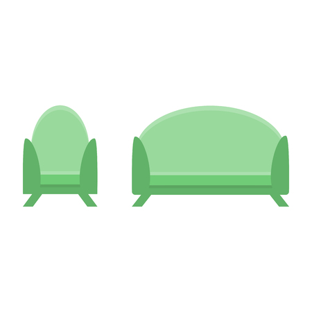 sofa and chair in the same style. vector illustration, flat icon. Element of modern home and office furniture. Front view. Vectores
