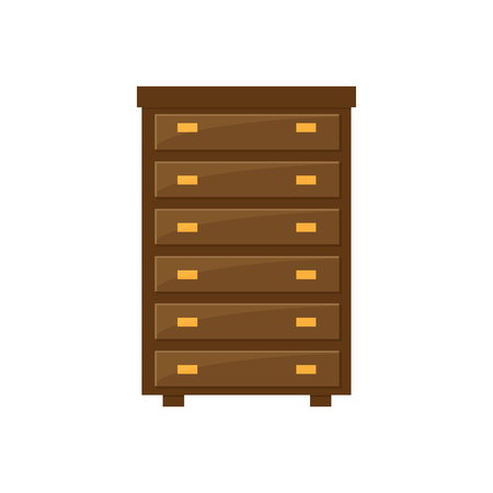 Vector illustration of wardrobe, flat icon. Element of modern home and office furniture. Front view.