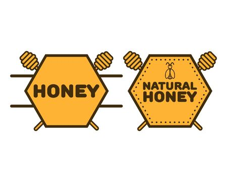 diseño de logotipo de miel. Etiqueta de propóleo para alimentos, envases, textiles, diseño de poligrafía.