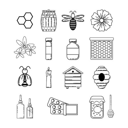 Set of propolis objects. Vector outline icons. illustration for design and web isolated on white background.