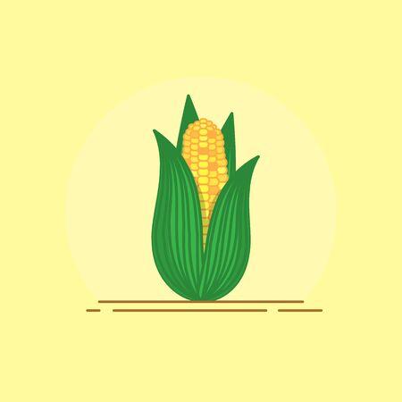 Mais-Symbol im flachen Stil. Vektorillustration für Design und Web. Vektorgrafik