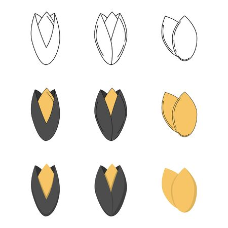 Set of sunflower seeds in three styles - outline, flat, cartoon. nut icons for design and web isolated on white background.