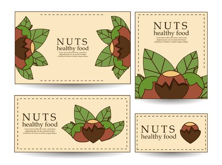 Set of vector banners and cards with hazelnuts. illustration for your design