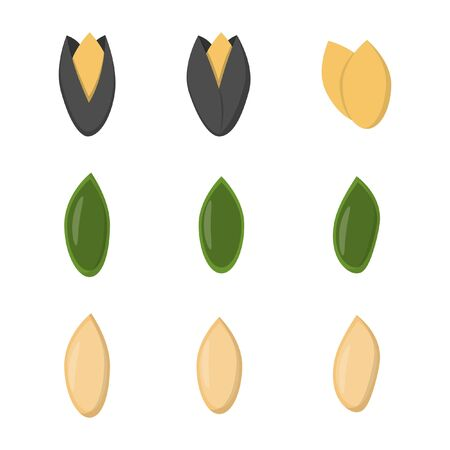 Set of nuts in flat style. sunflower seeds, pumpkin seeds icons for design and web isolated on white background.