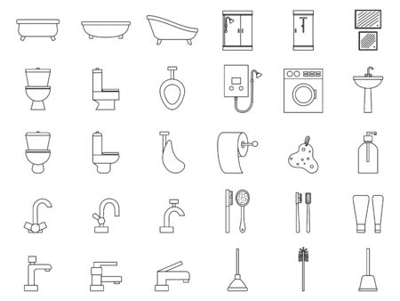 Set of plumbing icons. Outline signs for design and web. Çizim