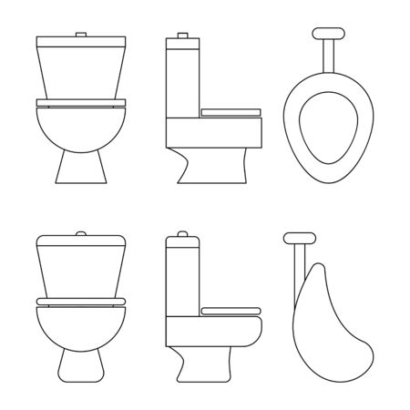 full face and profile outline illustration of toilet and urinal.