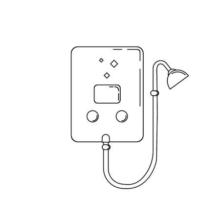 outline illustration of boiler. Plumbing element for design and web.