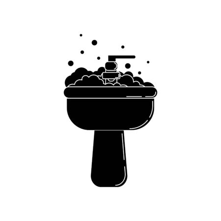 Sink with foam icon. Plumbing simple illustration for design and web.