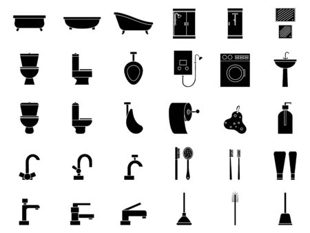 Set of plumbing icons. Simple signs for design and web.