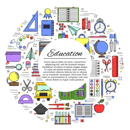 Education card concept. School illustration for design and web