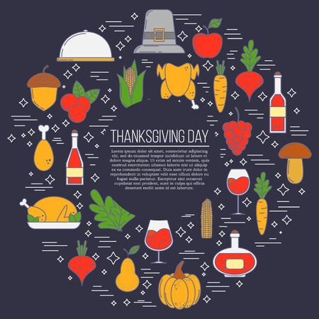 Thanksgiving card concept. Vector illustration for design and web