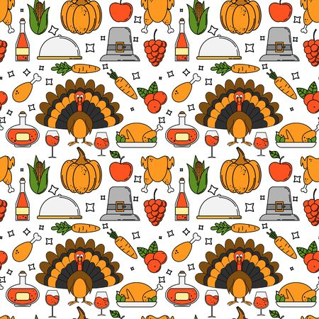 Thanksgiving seamless pattern. illustration for fabric and wallpaper design. Çizim