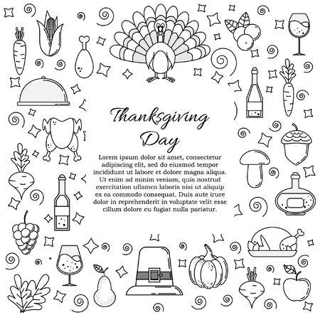 Thanksgiving card concept. Vector illustration for design and web Stok Fotoğraf - 132305736
