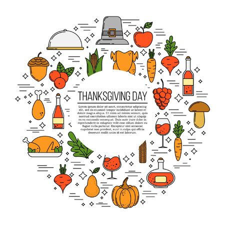 Thanksgiving card concept. Modern vector illustration for design and web