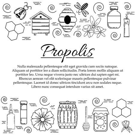 Propolis card concept. Vector honey illustration for design and web