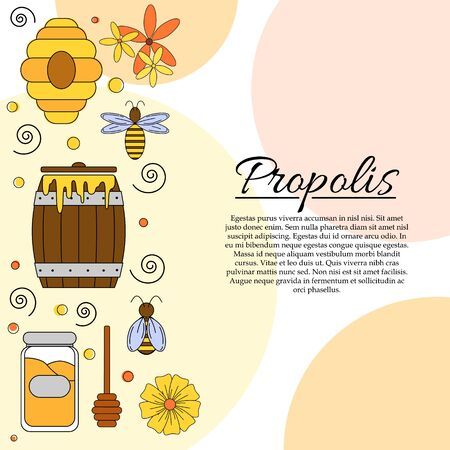 Propolis card concept. Modern vector honey illustration for design and web