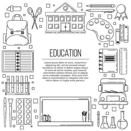 Vector education card concept. School illustration for design and web