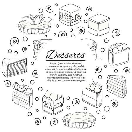 Dessert card concept. Modern cakes illustration for design and web