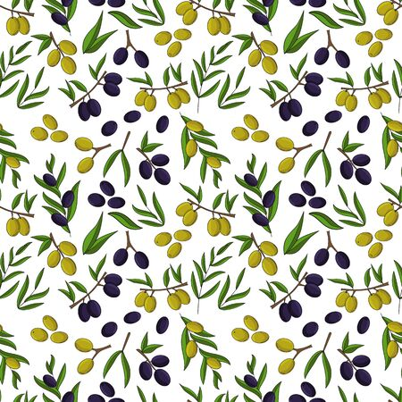 Olives seamless pattern. Vector illustration for design, web and decor