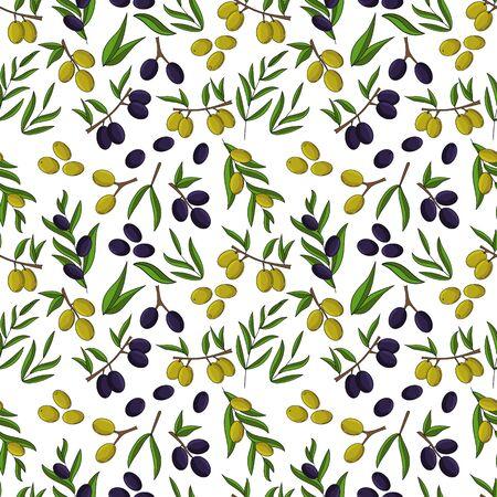 Olives seamless pattern. Vector illustration for design, web and decor