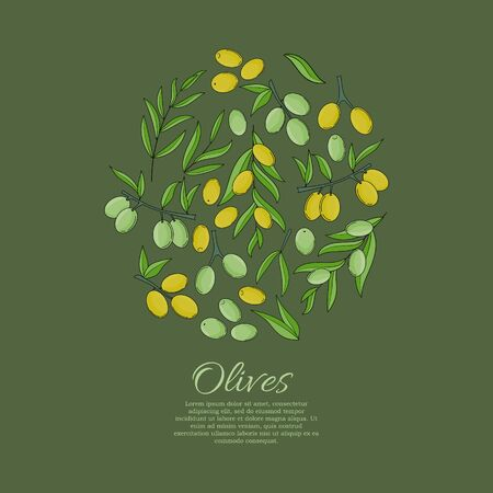 Vector card with olive branches and space for text. Stok Fotoğraf - 132304654